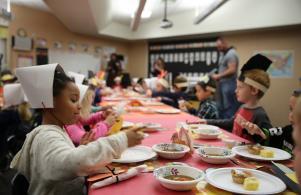 Elm students enjoy a Thanksgiving celebration
