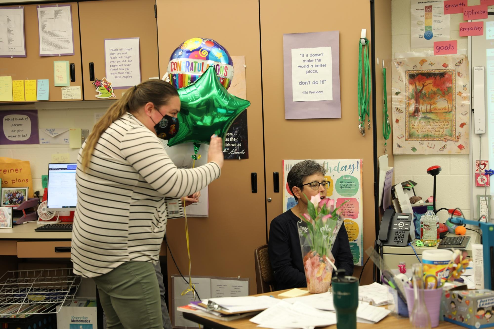 Ms. Kertai waives to Mrs. Shreiner's 5th grade virtual students