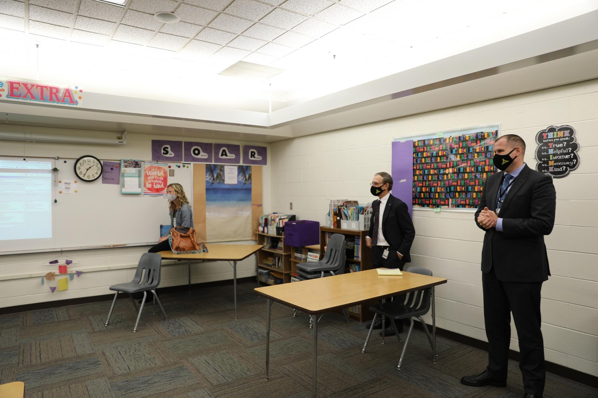 2020 Elementary Teacher of the Year Jessie Kinney, retiring HR Dir. Mike Lureman, and C.O.O. Aaron Leniski were on hand for the surprise. Mr. Leniski was a student in Mrs. Shreiner's first class when she first started at Elm Road in 1989.