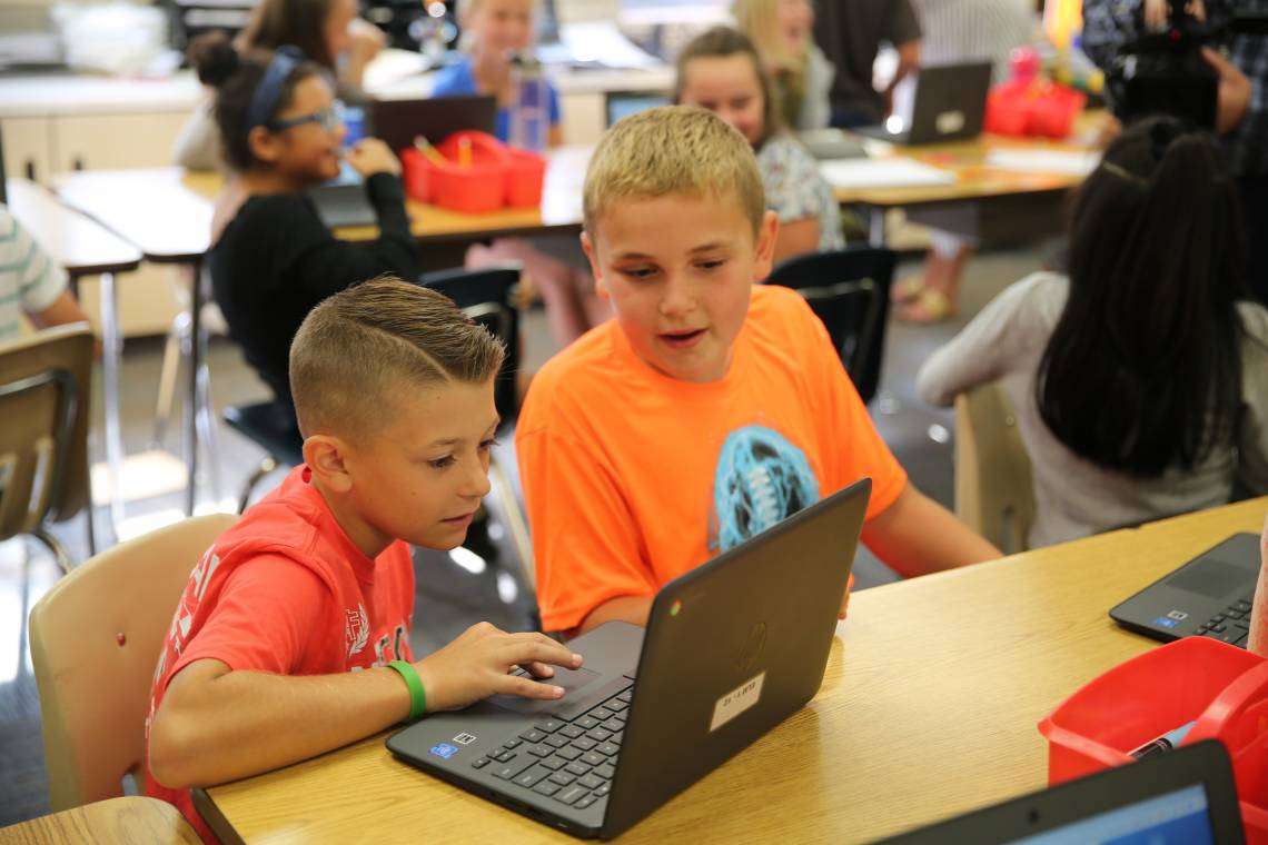 Elm Road students on Chromebooks